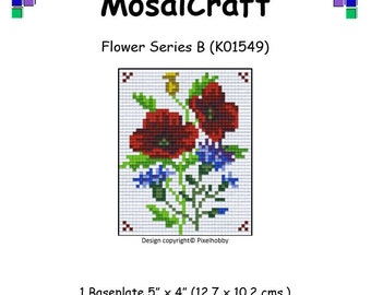MosaiCraft Pixel Craft Mosaic Art Kit 'Flower Series B' (Like Mini Mosaic and Paint by Numbers)