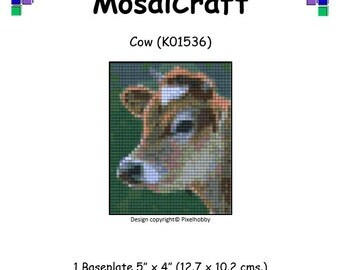 MosaiCraft Pixel Craft Mosaic Art Kit 'Cow' (Like Mini Mosaic and Paint by Numbers)