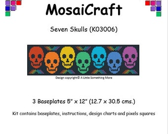 MosaiCraft Pixel Craft Mosaic Art Kit 'Seven Skulls' (Like Mini Mosaic and Paint by Numbers)