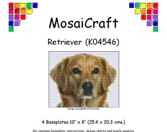 MosaiCraft Pixel Craft Mosaic Art Kit 'Retriever' (Like Mini Mosaic and Paint by Numbers)