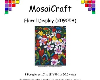 MosaiCraft Pixel Craft Mosaic Art Kit 'Floral Display' (Like Mini Mosaic and Paint by Numbers)