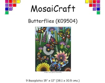 MosaiCraft Pixel Craft Mosaic Art Kit 'Butterflies' (Like Mini Mosaic and Paint by Numbers)