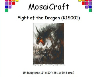 MosaiCraft Pixel Craft Mosaic Art Kit 'Fight Of The Dragon' (Like Mini Mosaic and Paint by Numbers)