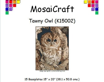 MosaiCraft Pixel Craft Mosaic Art Kit 'Tawny Owl' (Like Mini Mosaic and Paint by Numbers)