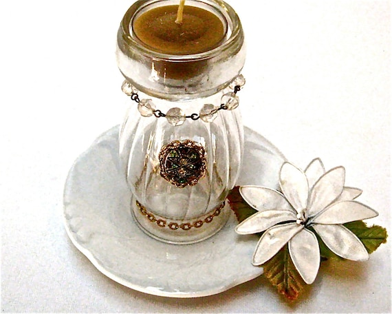 Amber Candle Elegant Tea Lite Holder Bling TeaLite Holder OOAK Jewelry Decorated TeaLite Holder Bling TeaLite Home Decor or Unique Gift