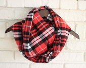 Red, Black and White Plaid Flannel Infinity Scarf, Endless Scarf, Hipster Scarf, Trendy Scarf, Loop Scarf, Cowl Scarf