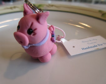 Handmade For You Adorable Pink Piggy Pig Bow and Butterfly Cell Phone Charm Ipod Purse Charm Zipper Pull Polymer Clay One of A Kind C100