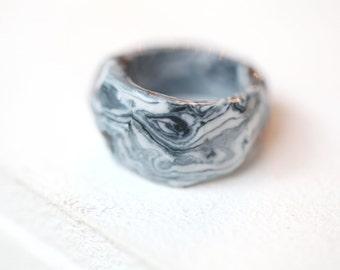 Yukon,  marbled porcelain ring, glazed ceramic band. Porcelain jewelry. Ceramic jewelry.