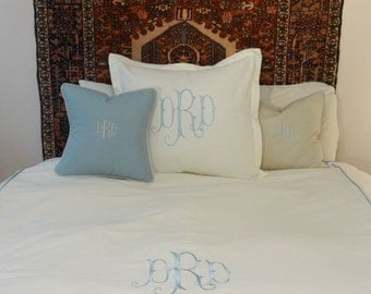 King Queen Duvet Cover Monogrammed/ Piped Duvet Cover/ Custom Welting Linen Duvet