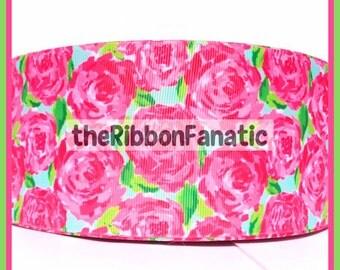 "3 yds 3"" Fabric Inspired Roses Grosgrain Ribbon  THREE YARD LISTING"
