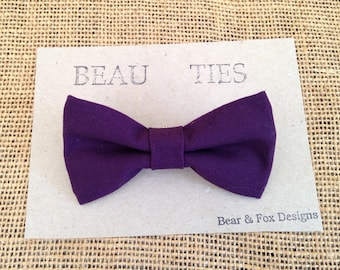 Baby Boy Toddler clip-on bow tie purple