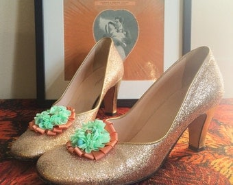 Pastel rosette rococo shoe clips