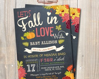 Fall in love Baby Shower Invitation. Little Pumpkin Baby Shower. DIY card. Digital Printable card