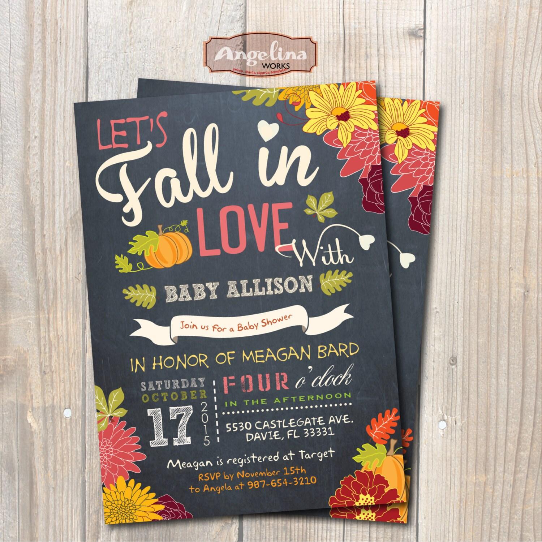 Fall In Love Baby Shower Invitation. Little Pumpkin Baby