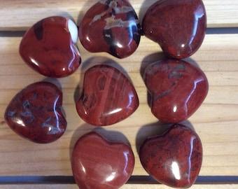 Red Jasper Small Gemstone Puffy Heart, Healing Stone, Healing Crystals,Chakra Stone, Spiritual Stone