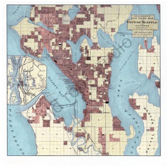 Hand Painted Map of Seattle Washington 1890 Retro Seattle