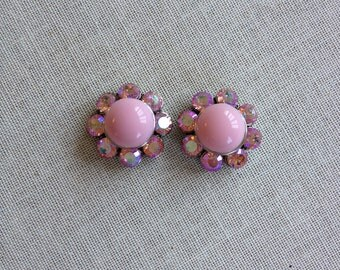 Pink milk glass and rhinestone post earrings, cluster earrings, bridesmaid, gift, posts, studs, rhinestone, earrings, vintage, milk glass