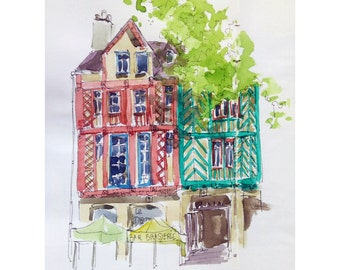 Colombages in Place St. Anne Rennes France half timbered original printing art architecture printing original print french art brittany
