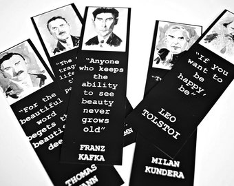 Five authors bookmark set Thomas Mann Kafka Tolstoi Somerset Maugham Kundera bookmarks art literature bookmarks BLACK and Balck & White pics
