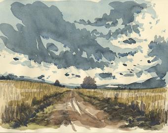 Original watercolor Landscape composition XXI original painting landscape painting clouds landscape clouds painting landscape wall decor
