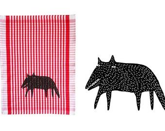 Wolf, tea towel, dishcloth. Screen printed by hand, approx. 20x28''
