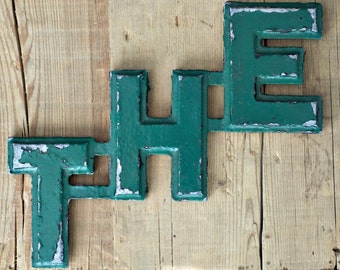 Vintage Industrial Aluminum Letters that spell - THE