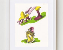 Curious George Art, Big Yellow Hat, Nursery Decor Wall Art, 1960s Children Book Illustration H.A. Rey, 8x10 Print PRNT01490