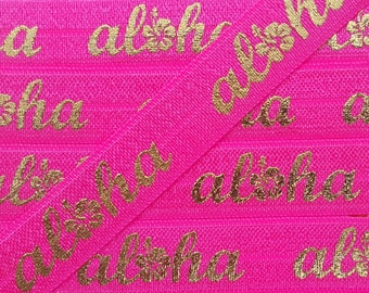 5/8 PASSION FRUIT with Gold Aloha Fold Over Elastic