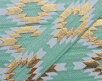 5/8 MINT Aztec (Repeating Pattern) Fold Over Elastic