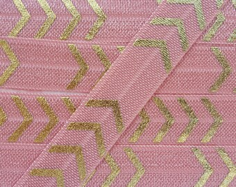 5/8 SWEET NECTAR with Gold Four Chevron Fold Over Elastic