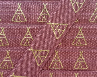 5/8 MARSALA with Gold Tent/Teepee Fold Over Elastic