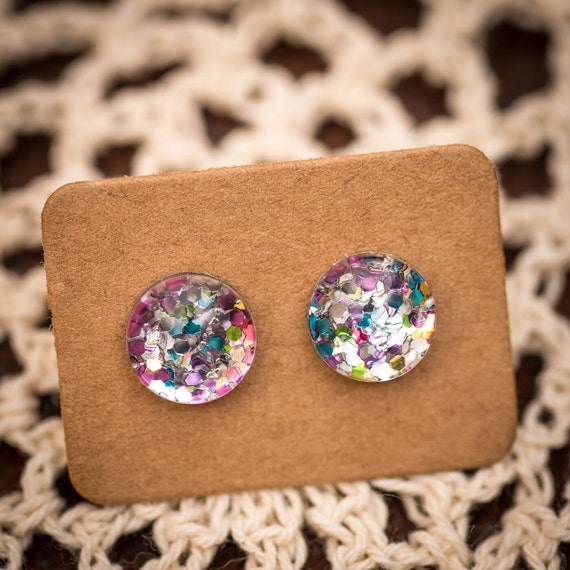 FREE SHIPPING - Glitter Earrings - Glass Stud - Surgical Steel - Rainbow Glitter - Handmade - Sparkle Gold Green Silver Red Blue