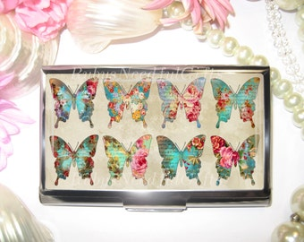 Business Card Holder, Card Holder, Business Card Case, Stainless Steel, Card Case, Credit Card Case, Shabby Butterflies.