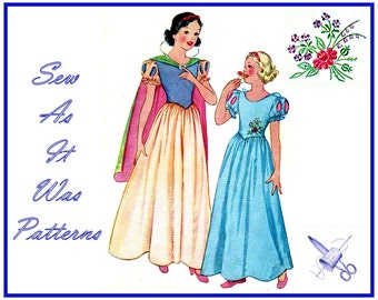 1930s McCall 558 Original Girls Snow White Costume Dress Cape Puff Cutout Sleeves Full Gathered Skirt Vintage Sewing Pattern Size 14 Bust 32