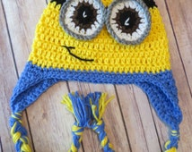 Minion Crochet Hat with braids, One-Eye, Two-Eyes option, Preemie, Newborn, Baby, Toddler, Child, Teen, Adult  Halloween costume, boy, girl