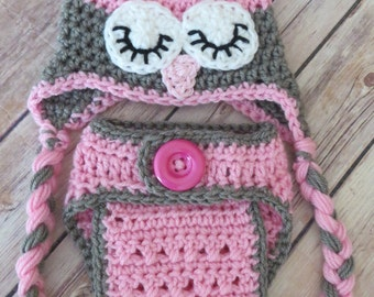 Sleepy Owl Hat, Crochet Owl Hat, Diaper Cover Set, PINK and GRAY Hat with braids * Preemie / Newborn / 0-3 mo, baby girl hat, shower gift