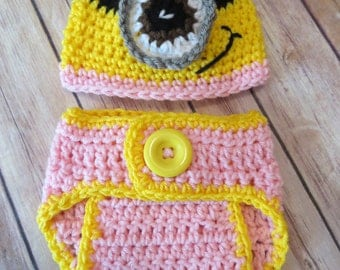 CROCHET girl Hat Set, baby girl minion, One-Eye, Two-Eyed hat w/matching D.Cover, Baby Shower Gift, Photo Props, halloween costume