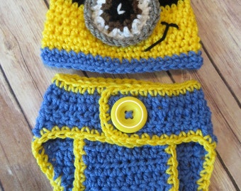 CROCHET Hat Set, baby boy, One-Eye, Two-Eyed hat w/matching D.Cover, newborn Photo Props, Baby Shower Gift, halloween costume, outfit