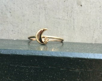 Moon ring, 14k moon and star ring, moon and diamond ring, crescent ring