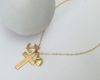 Gold Filled Faith, Hope and Love Necklace, Dainty Necklace, Everyday Necklace,  Mothers Day Gift, Dainty, Faith, Hope and Charity