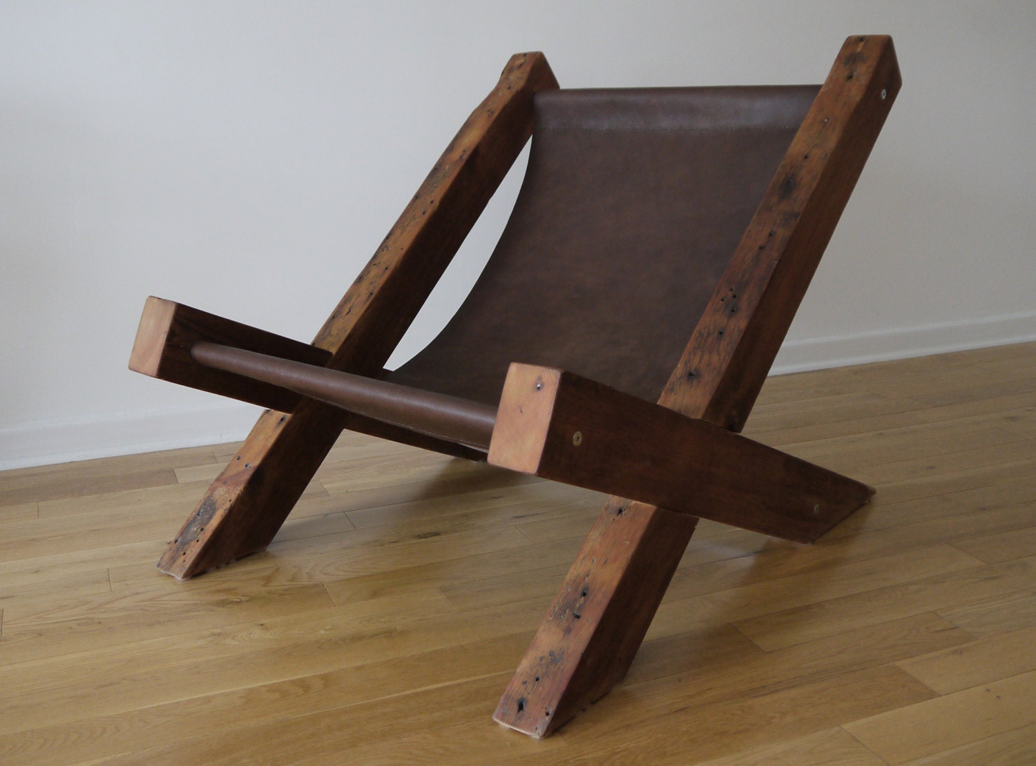 Reclaimed wood and leather lounge chair handmade