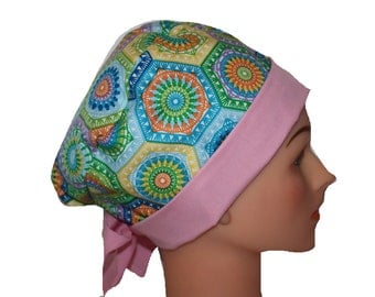 Surgical Scrub Hat Scrub Chef Doctor Vet Nurse Chemo Cap Flirty Front Fold Pixie Pastels Blue Orange Green Purple Pink Band