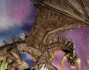 Ebonwrath Huge Black Dragon D&D Pathfinder Miniature Reaper METAL