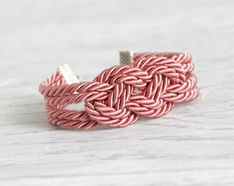 Cord Bracelet, Pink Bracelet, Nautical Bracelet, Knot Rope Bracelet,Sailor Knot,Love Knot,Rope Bracelet,Knot,Nautical Knot,Friendship,Pink