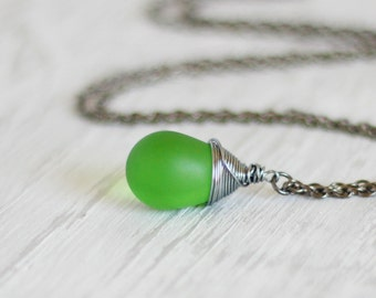 Green Drop Necklace Wrapped Green Drop Green Silver Necklace Wire Wrapped Drop Necklace Green Pendant Teadrop Necklace Minimalistic Necklace