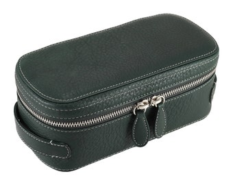 Leather beauty case, shoe cleaner case - green (m), grey (l), brown (xl), deep brown (xxl) // FREE SHIPPING, unique