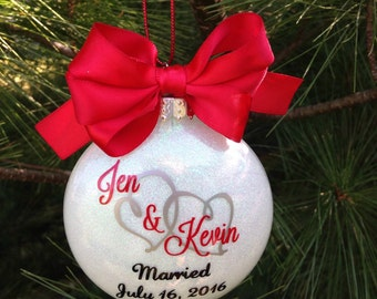 Engagenent Christmas Tree Ornament - Wedding, 1st Christmas, Anniversary Glittered Glass Custom Made