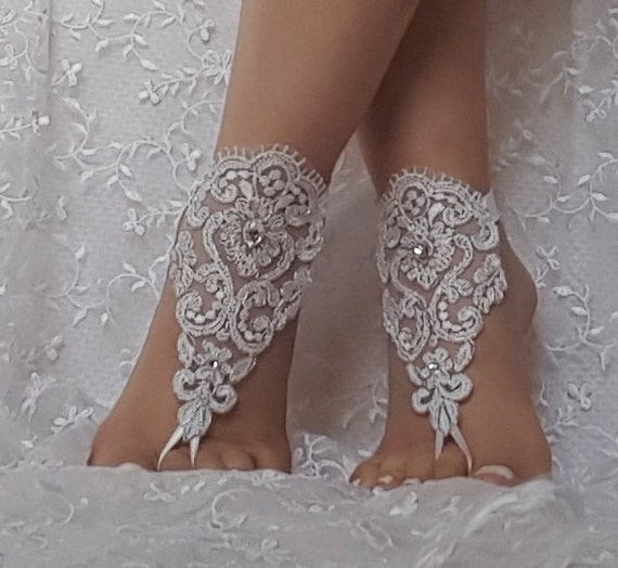 Free ship white silver wedding barefoot sandals wedding shoe prom party steampunk bangle beach anklets bangles bridal bride