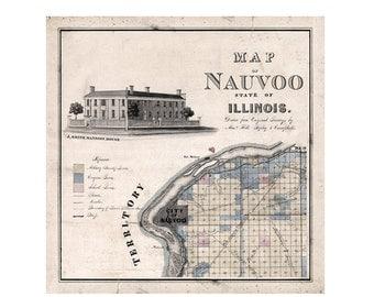 1840 Nauvoo Map - Home Office Decor