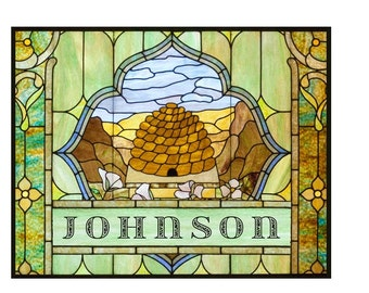 Stained Glass Beehive - Custom With Your Family Name